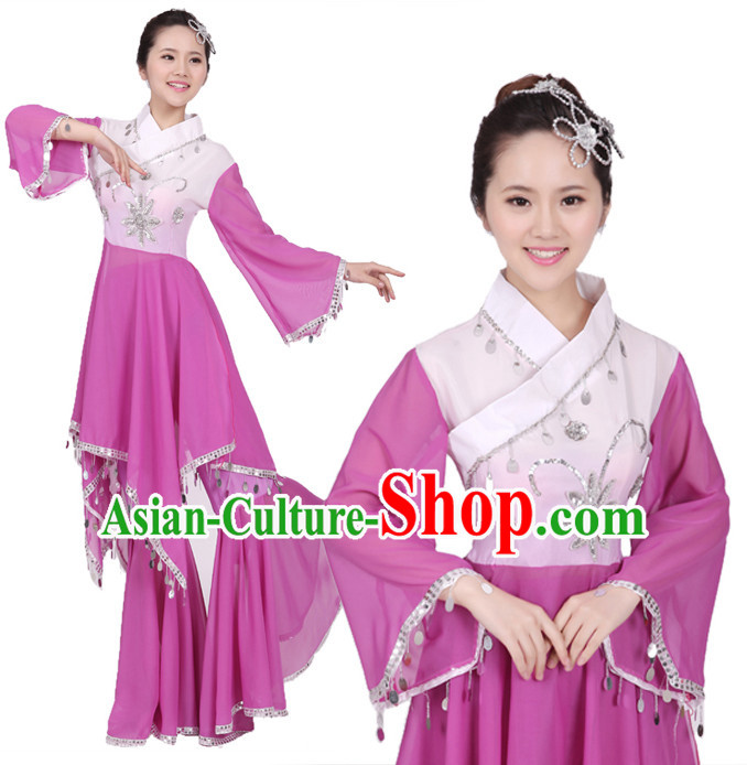 Chinese Teenagers Classical Dance Costume and Hair Decorations for Competition