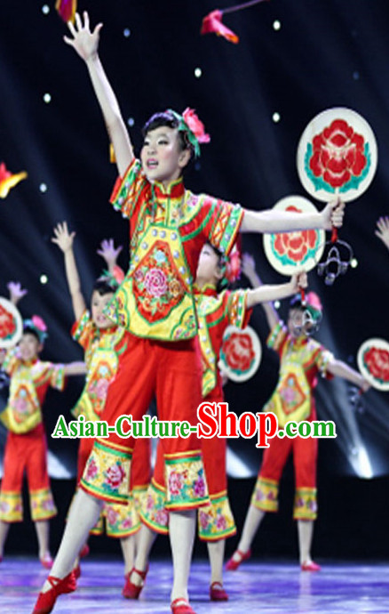 Chinese Quality Folk Dance Costume and Headwear Complete Set for Girls