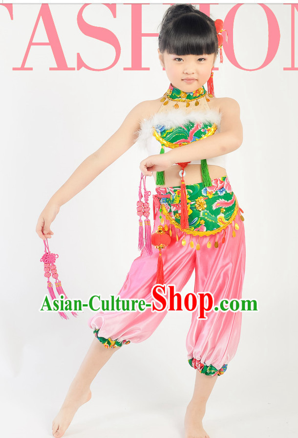 Chinese Kids Folk Dance Costumes for Competition