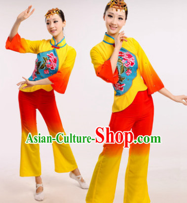 Chinese Fan Dance Costume Dancewear Discount Dane Supply Clubwear Dance Wear China Wholesale Dance Clothes for Women