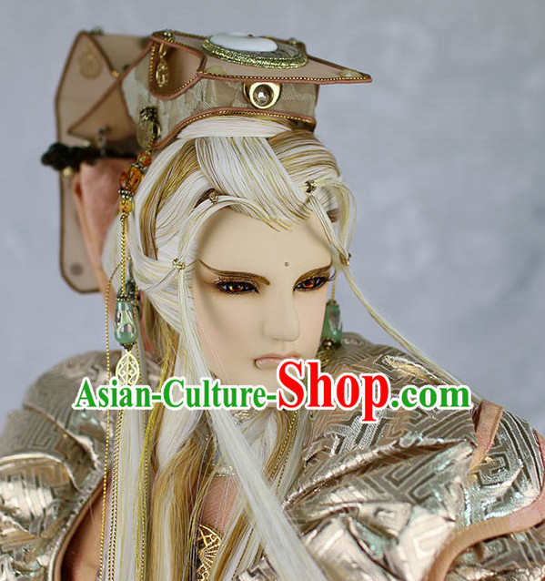 Chinese Ancient Prince Hairstyles Hair Extensions Wigs Hair Lace Front Wigs Pieces Hair Accessories Set