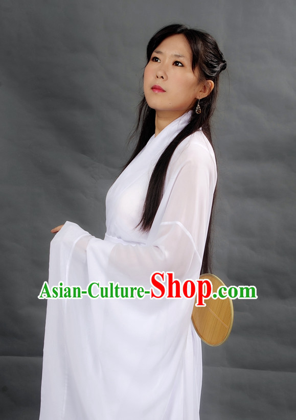 Chinese Pure Whiet Girl Hanfu Costume Ancient Costume Traditional Clothing Traditiional Dress Clothing online