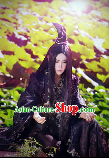 Black Halloween Costumes Chinese Prince Cosplay Costume and Crown