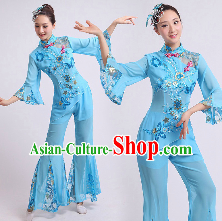 Chinese Han Dance Costumes Group Dancing Costume Dancewear China Dress Dance Wear and Head Pieces Complete Set