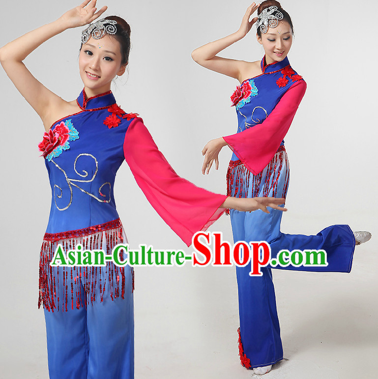 Chinese Yangge Dance Costumes Ribbon Dancing Costume Dancewear China Dress Dance Wear and Hair Accessories Complete Set