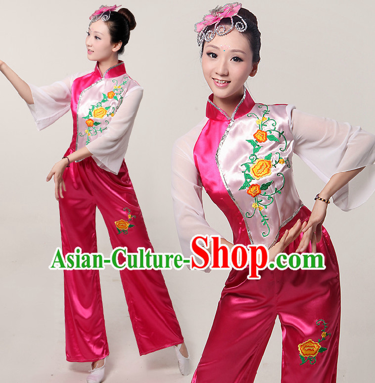 Asia Dance Costumes Ribbon Dancing Costume Dancewear China Dress Dance Wear and Headwear Complete Set