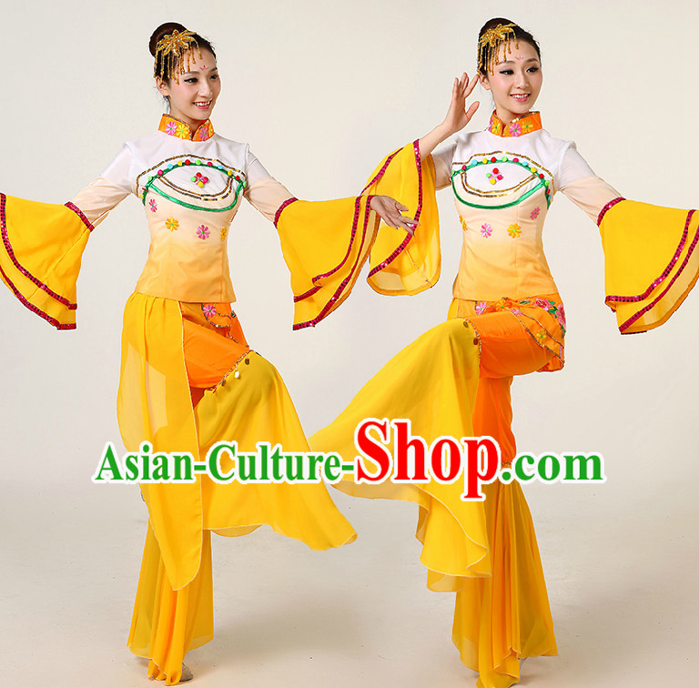 Asia Dance Costumes Competition Costumes Dancewear China Dress Dance Wear and Headpieces Complete Set