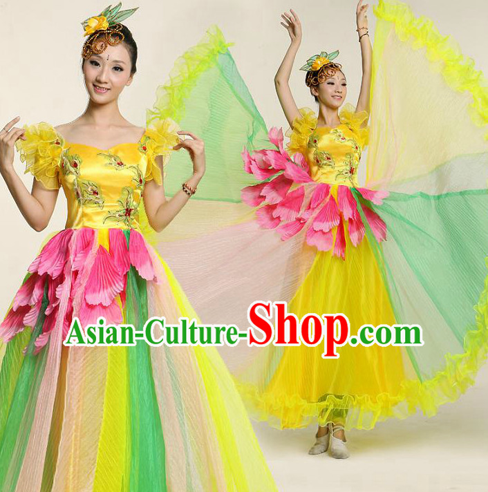Chinese Flower Dance Costume Competition Costumes Dancewear China Dress Dance Wear and Headpieces Complete Set
