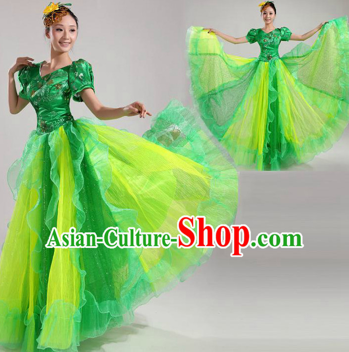 Asian Dance Costume Group Dance Costumes Dancewear China Dress Dance Wear and Headpieces Complete Set
