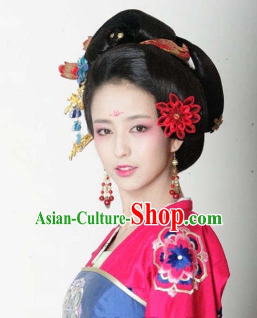 Chinese Imperial Palace Emperor's Concubine Hair Jewelry and Wigs Set