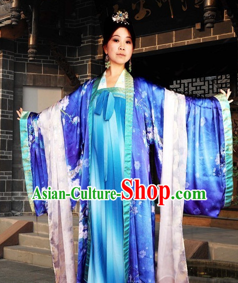 Chinese Queen Halloween Costumes Hanfu Clothing Ancient Costume and Hair Jewelry online Shopping Complete Set