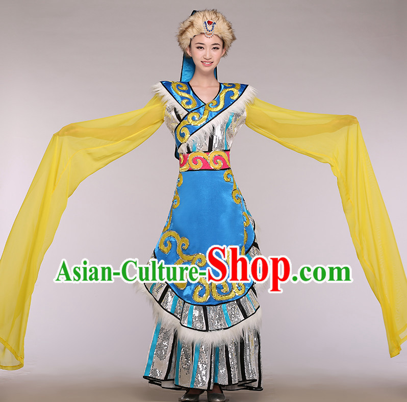 Chinese Long Sleeves Minority Competition Dance Costume Group Dancing Costumes and Hat Complete Set for Women