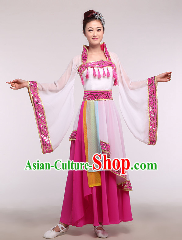 Chinese Ancient Costume Competition Dance Costume Group Dancing Costumes and Headwear Complete Set for Women