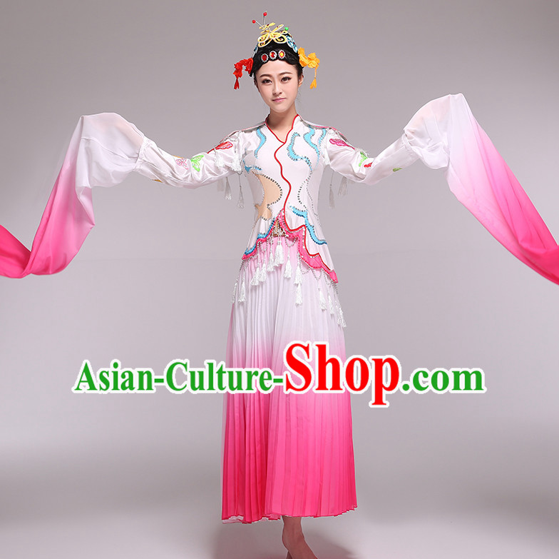 Color Transition Chinese Palace Dance Competition Dance Costume Group Dancing Costumes and Headwear Complete Set for Women