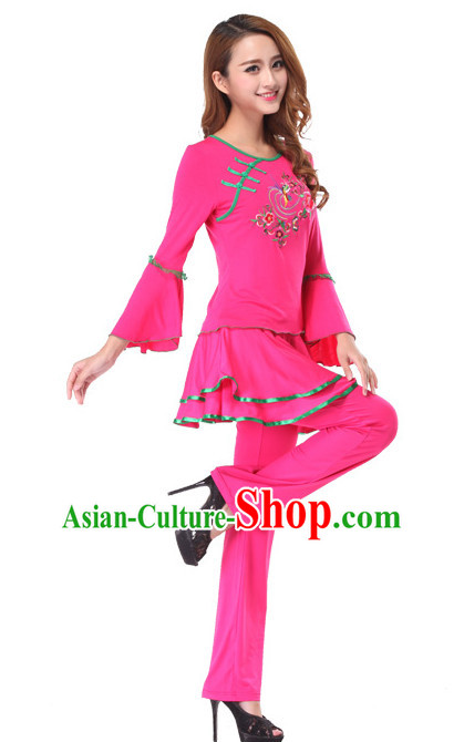 Pink Chinese Style Fan Dance Costume Discount Dance Costume Ideas Dancewear Supply Dance Wear Dance Clothes Suit
