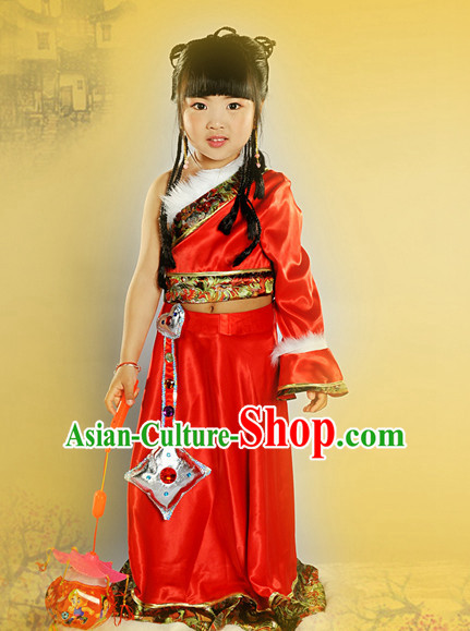 Chinese Mongolian Princess Halloween Costumes for Kids Baby Hanfu Clothes Toddler Halloween Costume Kids Clothing and Hair Accessories Complete Set