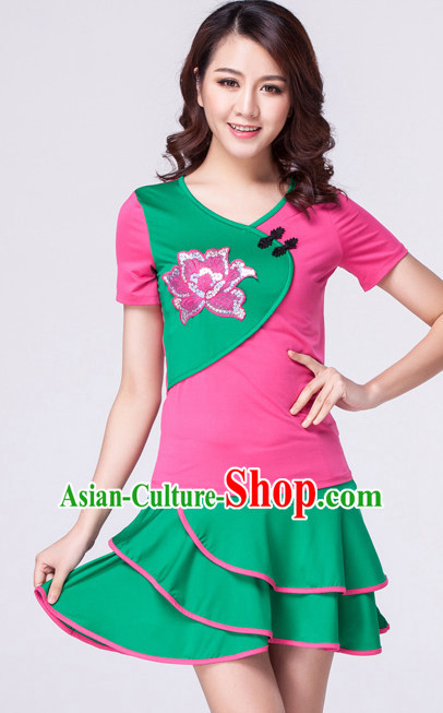 Pink Green Chinese Style Parade  Costume Ideas Dancewear Supply Dance Wear Dance Clothes Suit