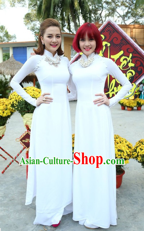 White Ao Dai Dresses Complete Set for Women