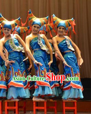 China Ethnic Dancewear and Hat Complete Set for Girls