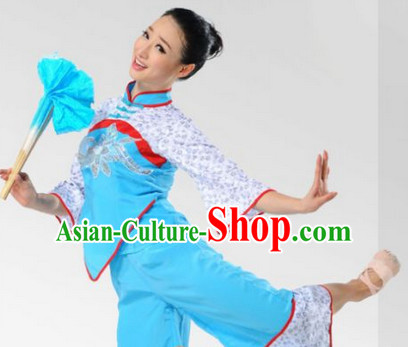 Chinese Folk Fan Dancing Costume Complete Set for Women
