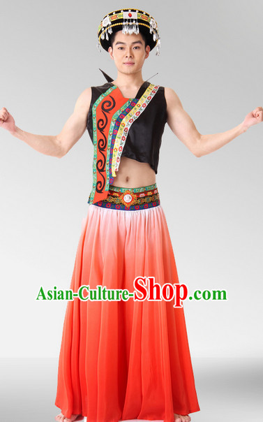 Chinese Stage Celebration Ethnic Dancewear and Hat Complete Set for Men