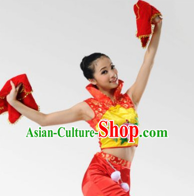 High Collar Chinese Stage Celebration Fan Dancewear Dancing Costume Complete Set for Women