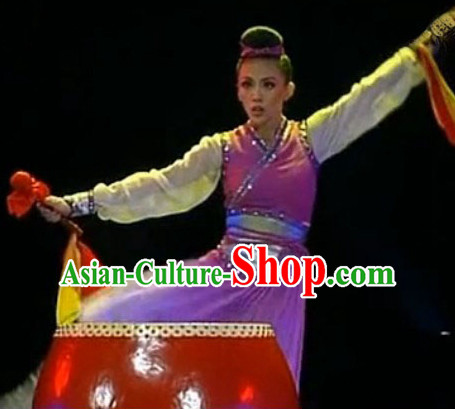 Chinese Stage Performance Drum Playing Dancewear Dance Costume Complete Set for Girls