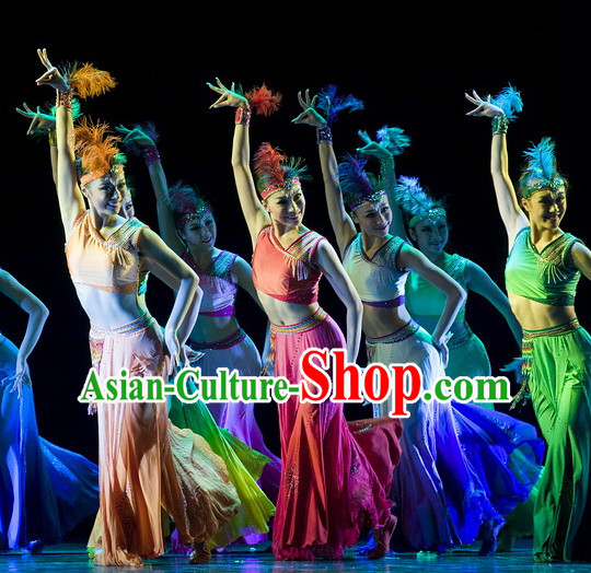 Chinese Team Dai Ethnic Peacock Dance Costume Complete Set for Women
