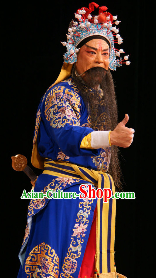 Ancient Chinese Opera General Costume and Helmet Complete Set for Men