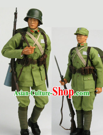 China Red Army Eighth Route Costume and Helmet