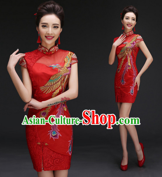 Red Phoenix Embroidery Cheongsam Qipao