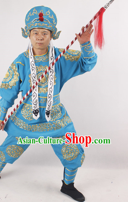 Chinese Opera Warrior Costume and Hat Complete Set for Men