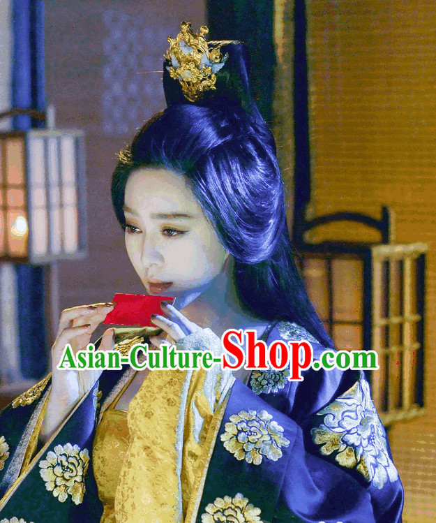 Ancient Tang Queen Long Wigs and Hair Jewelry