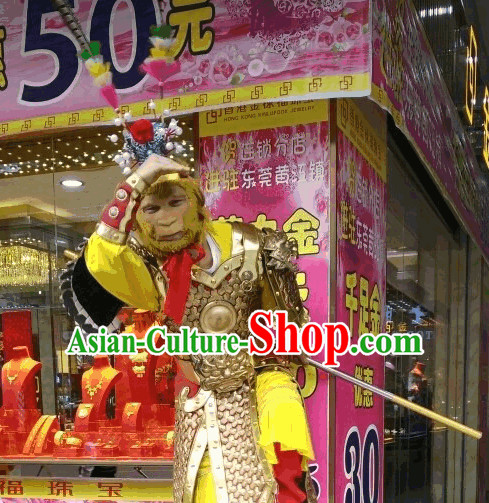 Sun Wukong Armor Fighting Costume and Hat Complete Set for Men