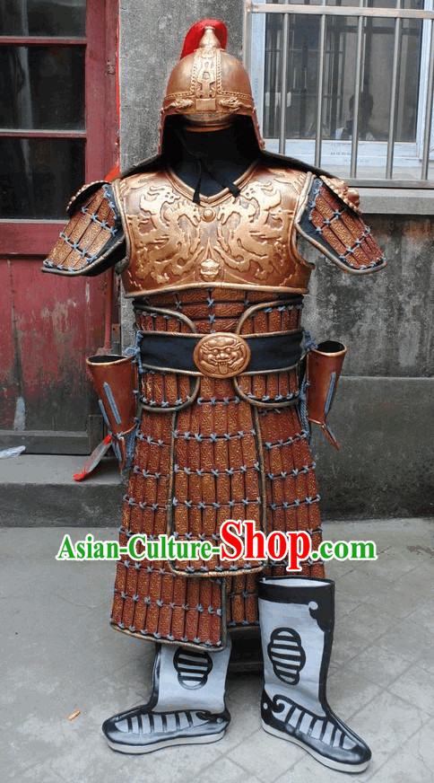 Ancient Asian Big Hero Armor Fighter Costume and Hat Full Set