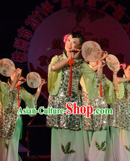 Chinese Stage Performance Fan Dancing Costume and Head Wear for Women