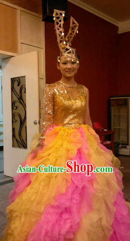 Chinese Stage Group Celebration Dance Costumes Dancewear