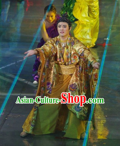 Chinese Ancient Buddha Costume and Wig for Men