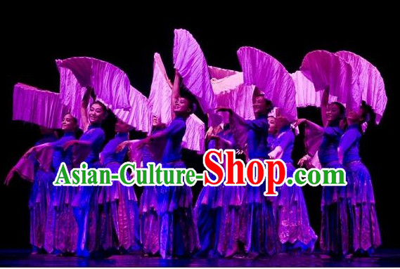 Chinese Blue Fan Dancing Group Costume for Girls