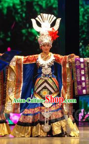 Chinese Miao Ethnic Princess Attire Clothing and Accessories and Hat Complete Set