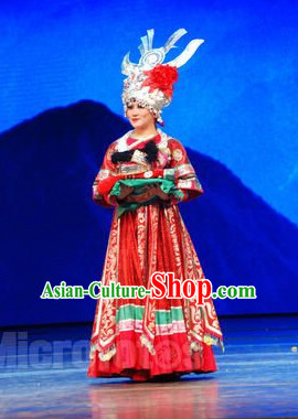 Chinese Miao Wedding Dress and Silver Hat Complete Set for Women