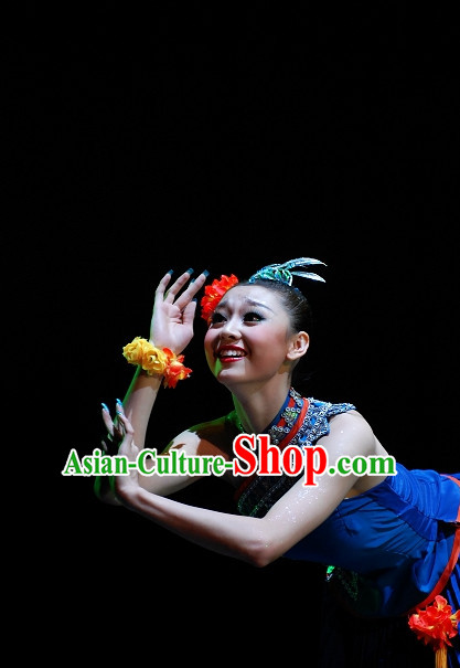 Chinese Ethnic Tribe Dancer Clothes and Head Wear Complete Set