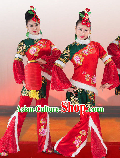 Traditional Chinese Spring Festival Dance Costumes and Headwear Complete Set for Women