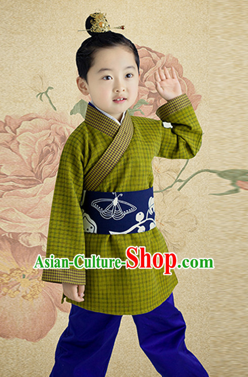 Ancient Chinese Han Dynasty Costumes and Hair Jewelry Complete Set for Boys