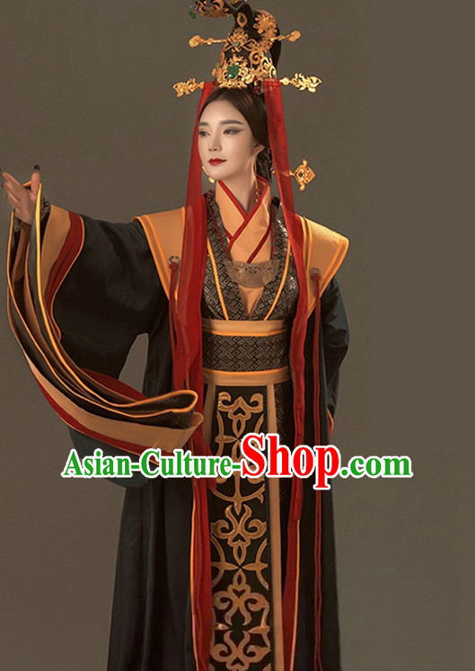 Ancient Chinese Qin Dynasty Mi Yue Queen Empress Clothing Garment and Crown Complete Set for Women