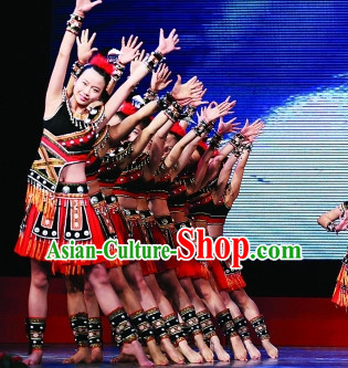 Chinese Traditional Minority Costume and Hair Piece Complete Set for Women