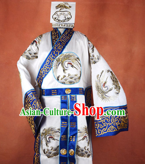 Ancient Chinese Zhuge Liang Opera Costume and Hat Complete Set for Men