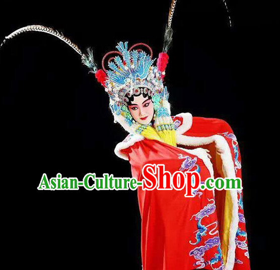 Ancient Chinese Hua Dan Empress Mantle Opera Costume and Hair Piece Complete Set for Women