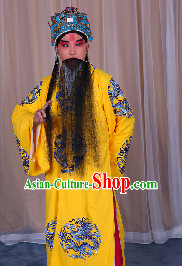 Ancient Chinese Beijing Opera Costumes Peking Opera Emperor Costume and Hat Complete Set for Men