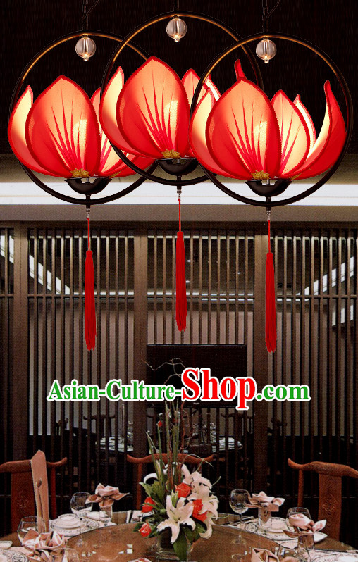 Red Handmade Chinese Classic Lotus Ceiling Lanterns